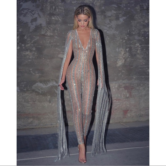 Fashion Nova Pants Silver Glitter Sequin Long Sleeve Cape Jumpsuit